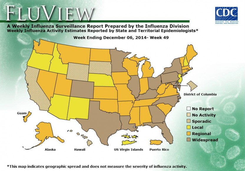 flu spread map